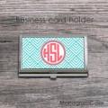 Aqua blue peach pink monogrammed business card case