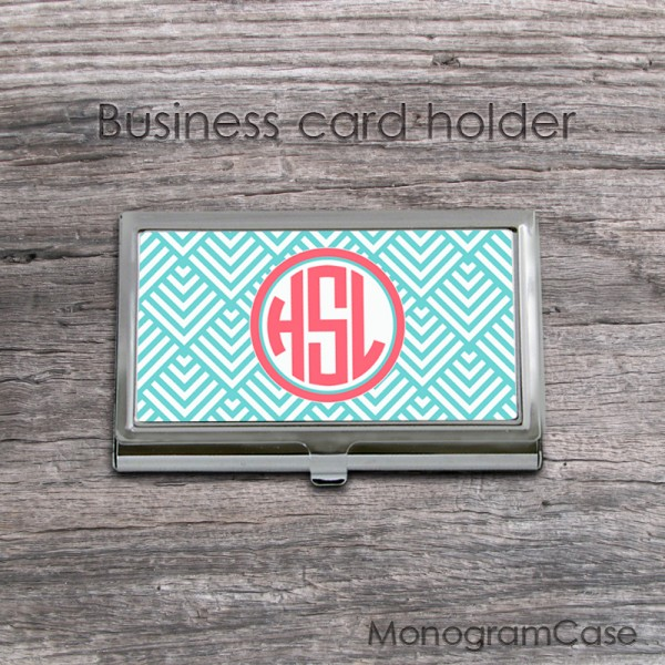Aqua blue peach pink monogrammed business card case
