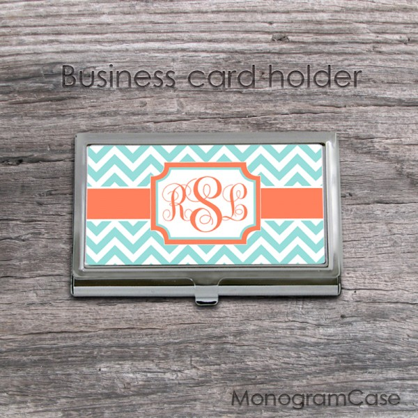 Aqua chevron tangerine ribbon monogrammed card case