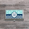 Aquamarine navy vine monogrammed card holder