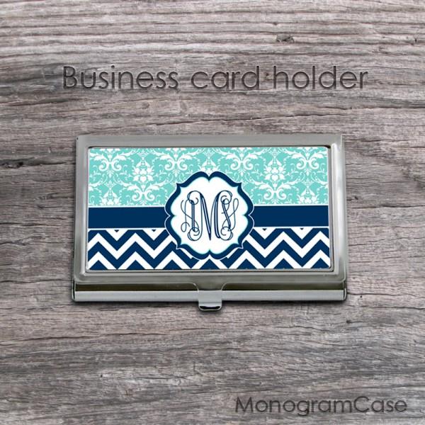Aquamarine navy vine monogrammed card holder