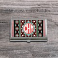 Aztec design stainless steel card holder case with monogram