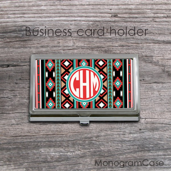 Aztec design stainless steel card holder case with monogram