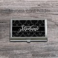 Classic black  damask customized business card holder
