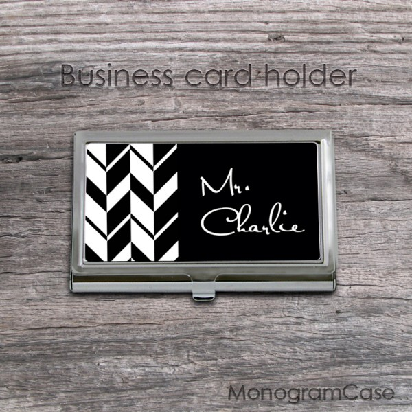 Black white arrows inspired ID stainless steel card holder