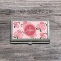 Blush vintage card holder case with peonies