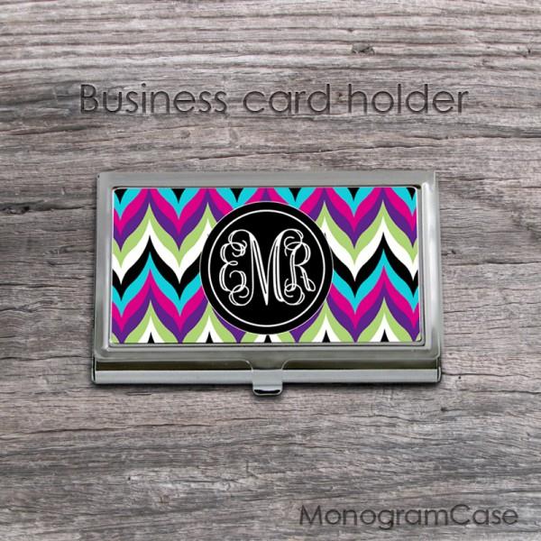 Retro colorful chevron pattern monogrammed card case