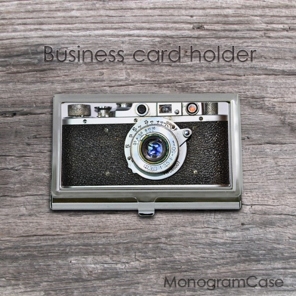 Business card holder vintage photo design