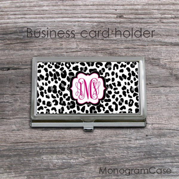 Cheetah animal print card holder with hot pink monogram