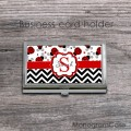 Classic chevron and ladybugs set stainless card holder