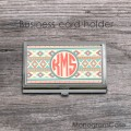 Aztec indian design circle coral monogrammed card holder