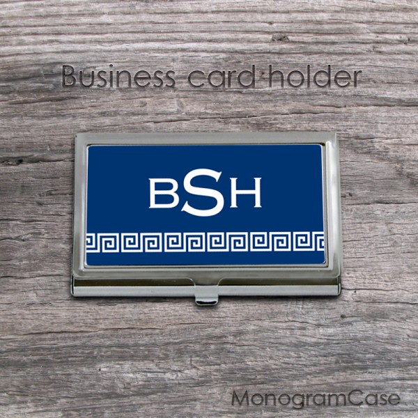 Deep blue greek key pattern business ID card case with classic monogram