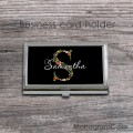 Floral lettering black business card holder case