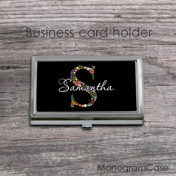 Floral lettering black business card holder case