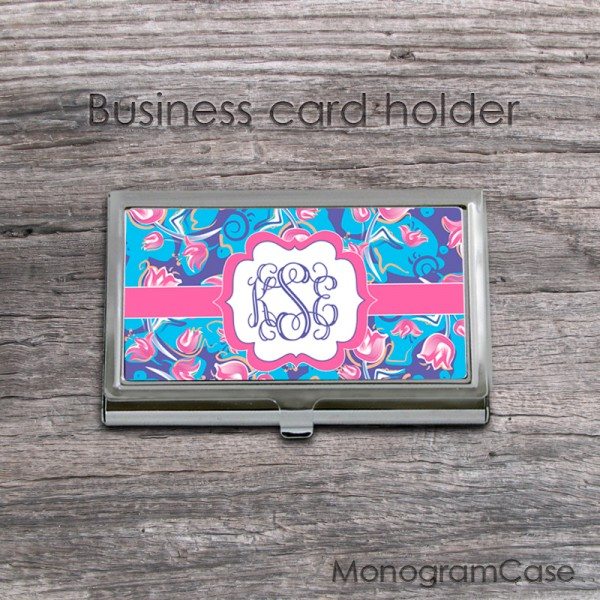 Floral monogrammed business card holder case