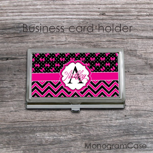 Girly hot pink black pattern dots ribbons card holder