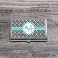 Gray clovers aqua ribbon card holder case