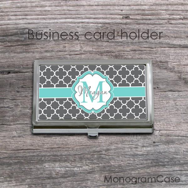 Gray clovers aqua ribbon card holder case