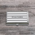 Gray stripes personalized business card holder