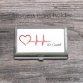 Heartbeat imprint card holder case with personalization