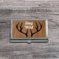 Wood design business card holder horns print
