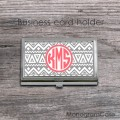 Light gray aztec pattern coral monogram card case