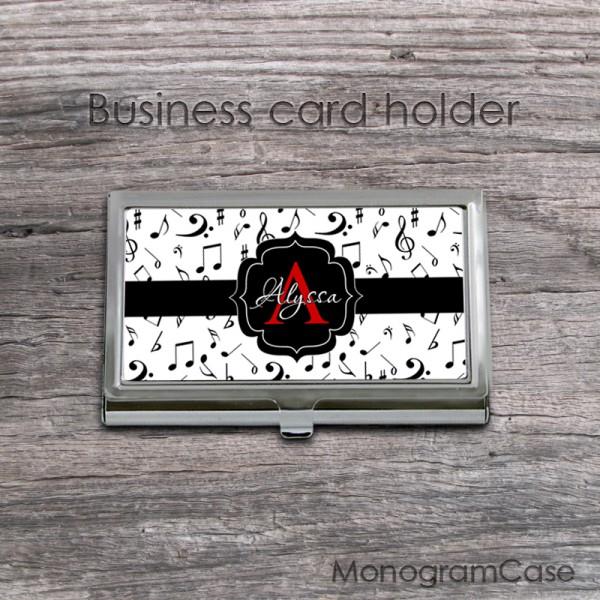 Musical card holder notes print black ribbon
