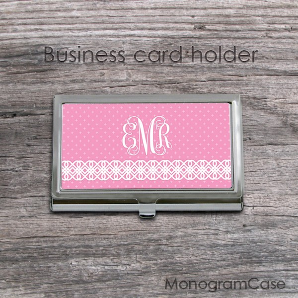 Pink vine monogrammed ID card holder case