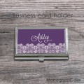 Purple background steel card case with vintage lace