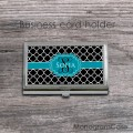 Steel card case with quatrefoil black and ribbon dark teal
