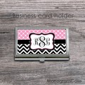 Soft pink white pattern black chevron card holder case