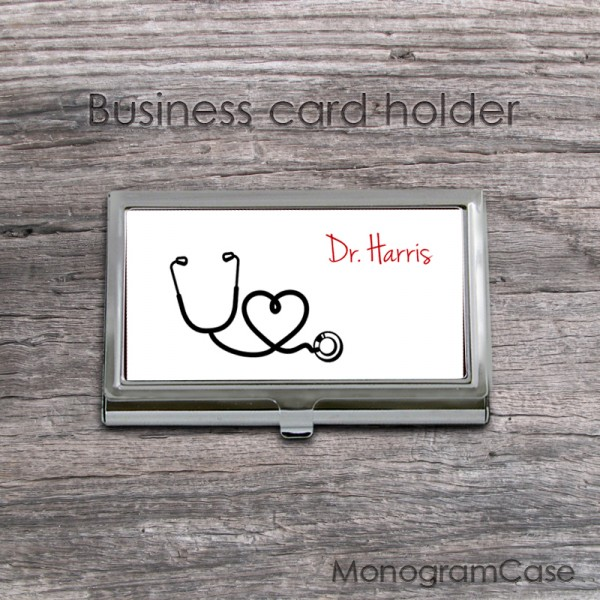 Nurse stetoscope personalized or monogrammed card holder case