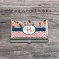 Vintage flowers chevron personalized business holders