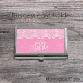 Monogrammed  pink card holder case with white vintage lace
