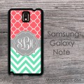 Samsung Galaxy Note case - coral pattern on mint chevron