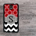 Samsung galaxy note case red quatrefoil with black white chevron