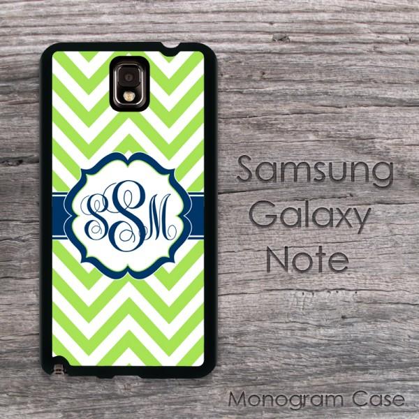 Galaxy Note monogrammed  case light green chevron navy blue