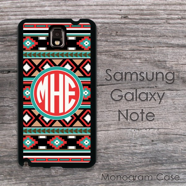 Aztec design tribal colors monogrammed Samsung cases