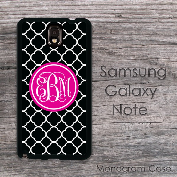 Black style Galaxy Note case and magenta label customized Samsung cover