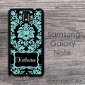 Smokey aquamarine black damask personalized Galaxy case