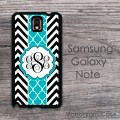 Black and white chevron with turquoise monogram Galaxy Note