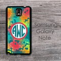 Mozaic Cheery  Galaxy Note case with circle monogram