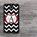 Black and white chevron and red ribbon Galaxy Note case