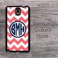 Galaxy Note case - circle monogrammed navy blue design on coral chevron
