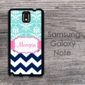 Customized aqua damask and navy chevron design case cover