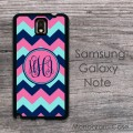 Bubblegum cute pink navy aqua zig zag pattern Samsung Galaxy case