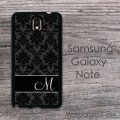 Elegant black charcoal damask Samsung Galaxy
