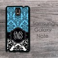 Floral damask black white blue Galaxy cover