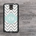 Samsung galaxy note hard case gray zig-zag aqua color ribbon