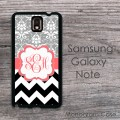 Samsung cover grey damask with black and white zig zag  design